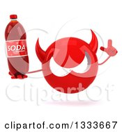 Clipart Of A 3d Red Devil Head Holding Up A Finger And A Soda Bottle Royalty Free Illustration