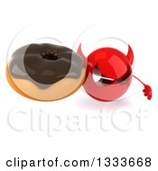 Clipart Of A 3d Red Devil Head Holding Up A Chocolate Glazed Donut Royalty Free Illustration