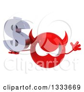 Clipart Of A 3d Red Devil Head Jumping And Holding A Dollar Currency Symbol Royalty Free Illustration