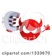 Clipart Of A 3d Red Devil Head Jumping And Holding A Euro Currency Symbol Royalty Free Illustration