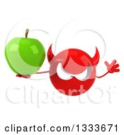 Clipart Of A 3d Red Devil Head Jumping And Holding A Green Apple Royalty Free Illustration