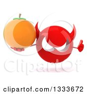 Clipart Of A 3d Red Devil Head Giving A Thumb Up And Holding A Navel Orange Royalty Free Illustration