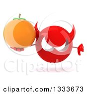 Clipart Of A 3d Red Devil Head Giving A Thumb Down And Holding A Navel Orange Royalty Free Illustration