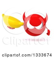 Clipart Of A 3d Red Devil Head Holding A Banana Royalty Free Illustration