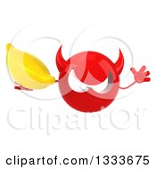 Clipart Of A 3d Red Devil Head Jumping And Holding A Banana Royalty Free Illustration
