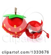 Clipart Of A 3d Red Devil Head Holding Up A Strawberry Royalty Free Illustration