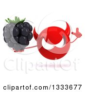 Clipart Of A 3d Red Devil Head Holding Up A Finger And A Blackberry Royalty Free Illustration