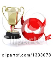 Clipart Of A 3d Red Devil Head Shrugging And Holding A Trophy Royalty Free Illustration