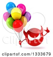Clipart Of A 3d Red Devil Head Holding Up A Finger And Party Balloons Royalty Free Illustration