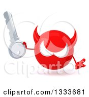 Clipart Of A 3d Red Devil Head Shrugging And Holding A Key Royalty Free Illustration