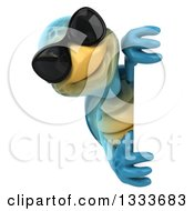 3d Happy Blue Tortoise Turtle Wearing Sunglasses And Looking Around A Sign