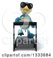 Clipart Of A 3d Happy Blue Tortoise Turtle Wearing Sunglasses And Running On A Treadmill Royalty Free Illustration