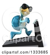 3d Happy Blue Tortoise Turtle Wearing Sunglasses Facing Right And Running On A Treadmill