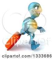 3d Happy Blue Tortoise Turtle Traveler Walking To The Right With Rolling Luggage