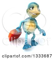 3d Happy Blue Tortoise Turtle Traveler Walking With Rolling Luggage