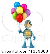 Clipart Of A 3d Happy Blue Tortoise Turtle Holding Party Balloons Royalty Free Illustration