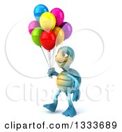 3d Happy Blue Tortoise Turtle Walking To The Left And Holding Party Balloons
