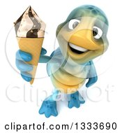 Clipart Of A 3d Happy Blue Tortoise Turtle Holding Up A Waffle Ice Cream Cone Royalty Free Illustration