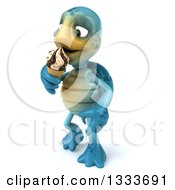 3d Happy Blue Tortoise Turtle Walking Slightly Left And Eating A Waffle Ice Cream Cone