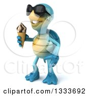 3d Happy Blue Tortoise Turtle Wearing Sunglasses Facing Slightly Left And Holding A Waffle Ice Cream Cone