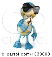 Clipart Of A 3d Happy Blue Tortoise Turtle Wearing Sunglasses Walking And Eating A Waffle Ice Cream Cone Royalty Free Illustration