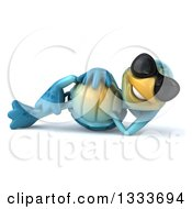 Clipart Of A 3d Happy Blue Tortoise Turtle Wearing Sunglasses And Resting On His Side Royalty Free Illustration