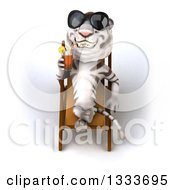 Poster, Art Print Of 3d White Tiger Wearing Sunglasses Drinking A Beverage And Relaxing In A Poolside Chair