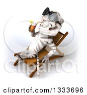 Poster, Art Print Of 3d White Tiger Wearing Sunglasses Drinking A Beverage And Relaxing In A Poolside Chair 2