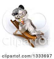 Poster, Art Print Of 3d White Tiger Wearing Sunglasses Drinking A Beverage And Relaxing In A Poolside Chair 3