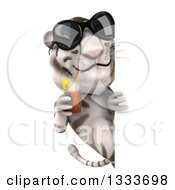 Clipart Of A 3d White Tiger Wearing Sunglasses And Drinking A Beverage Around A Sign Royalty Free Illustration