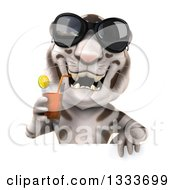 Poster, Art Print Of 3d White Tiger Wearing Sunglasses And Drinking A Beverage Over A Sign