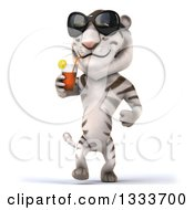 Clipart Of A 3d White Tiger Wearing Sunglasses Walking And Drinking A Beverage Royalty Free Illustration