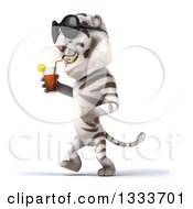 Poster, Art Print Of 3d White Tiger Wearing Sunglasses Walking To The Left And Drinking A Beverage