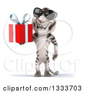 Clipart Of A 3d White Tiger Wearing Sunglasses And Holding A Gift 2 Royalty Free Illustration