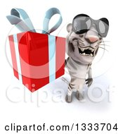 Clipart Of A 3d White Tiger Wearing Sunglasses And Holding Up A Gift Royalty Free Illustration