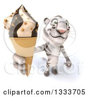 Clipart Of A 3d White Tiger Holding Up A Waffle Ice Cream Cone Royalty Free Illustration