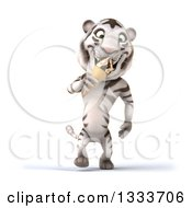 Clipart Of A 3d White Tiger Walking And Eating A Waffle Ice Cream Cone Royalty Free Illustration