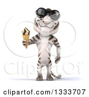 Clipart Of A 3d White Tiger Wearing Sunglasses And Holding A Waffle Ice Cream Cone Royalty Free Illustration