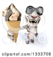 Clipart Of A 3d White Tiger Wearing Sunglasses And Holding Up A Waffle Ice Cream Cone Royalty Free Illustration