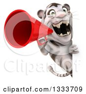Clipart Of A 3d White Tiger Announcing With A Megaphone Around A Sign Royalty Free Illustration