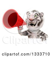 Clipart Of A 3d White Tiger Announcing With A Megaphone Over A Sign Royalty Free Illustration