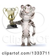 Clipart Of A 3d White Tiger Holding A Trophy Royalty Free Illustration