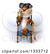 Clipart Of A 3d Relaxed Tiger Wearing Sunglasses Drinking A Beverage And Resting On A Poolside Chair Royalty Free Illustration