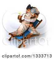 Clipart Of A 3d Relaxed Tiger Wearing Sunglasses Drinking A Beverage And Resting On A Poolside Chair 2 Royalty Free Illustration