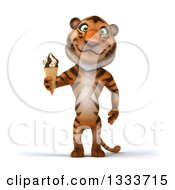 Clipart Of A 3d Tiger Holding A Waffle Ice Cream Cone Royalty Free Illustration