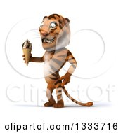 Clipart Of A 3d Tiger Facing Slightly Left And Holding A Waffle Ice Cream Cone Royalty Free Illustration