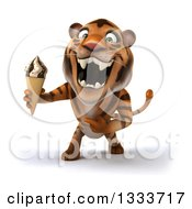 Clipart Of A 3d Tiger Roaring Holding And Pointing To A Waffle Ice Cream Cone Royalty Free Illustration