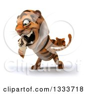 Clipart Of A 3d Tiger Facing Slightly Left And Eating A Waffle Ice Cream Cone Royalty Free Illustration