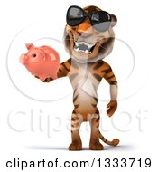 Clipart Of A 3d Tiger Wearing Sunglasses And Holding A Piggy Bank Royalty Free Illustration