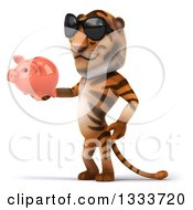 Clipart Of A 3d Tiger Facing Slightly Left Wearing Sunglasses And Holding A Piggy Bank Royalty Free Illustration